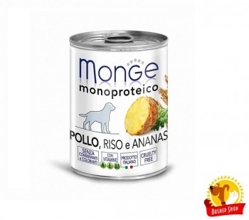 Monge Dog Monoproteico Fruits консервы для собак паштет из курицы с рисом и ананасами 400 г