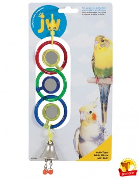 JW31049 Игрушка д/птиц - 3 зеркальца с колокольчиком, пластик, Triple Mirror With Bell Toy for birds